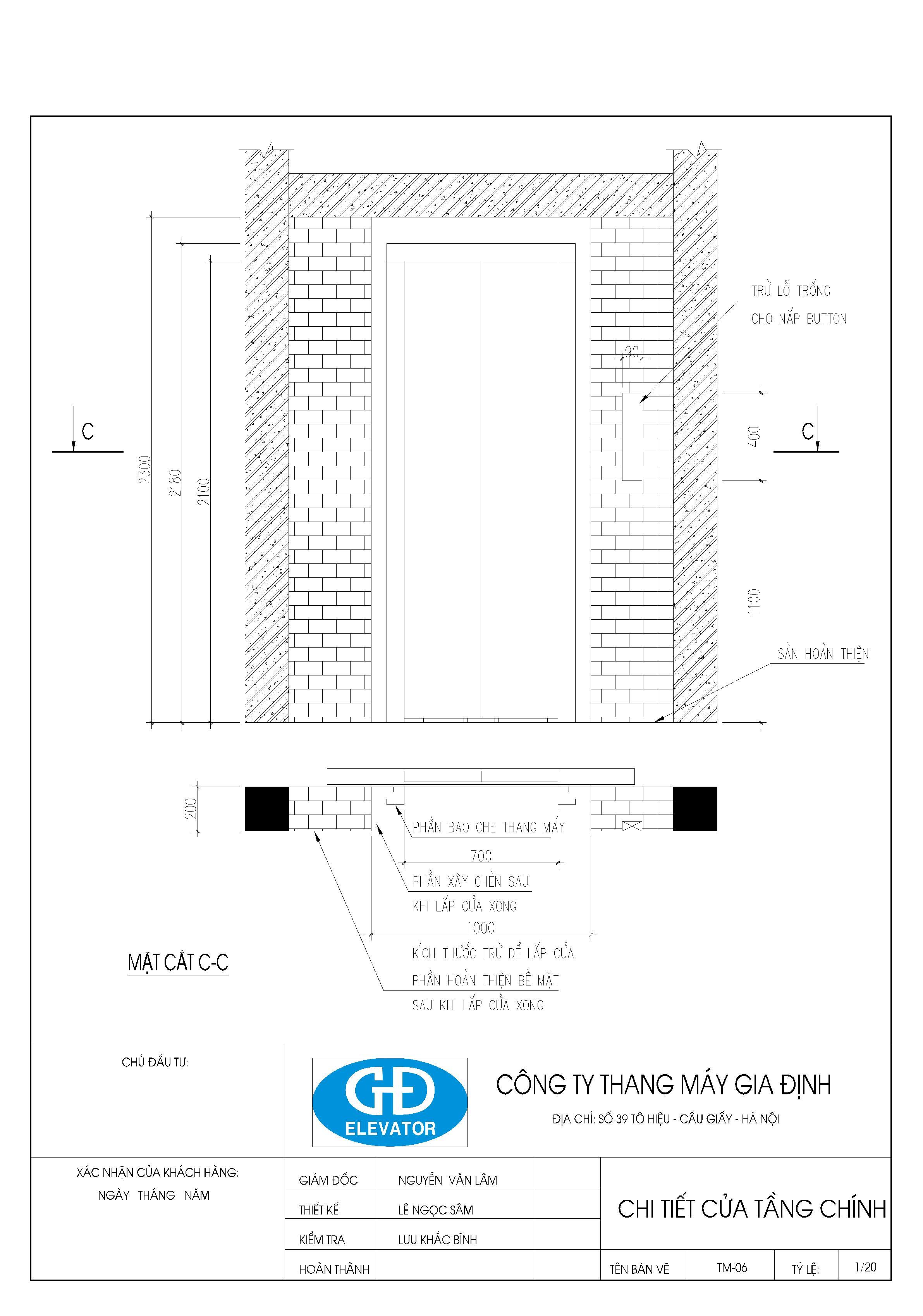 bản vẽ thiết kế thang máy gia đình 350kg