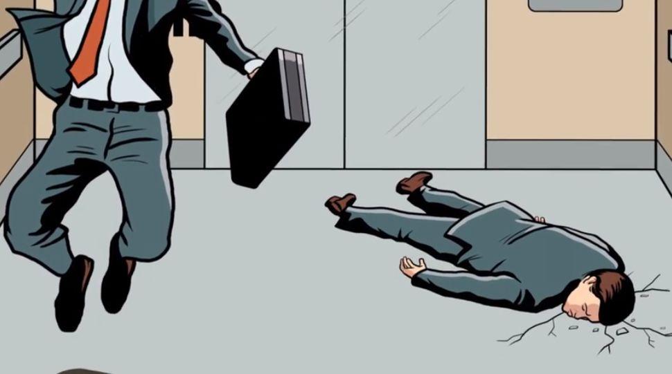 nhảy lên khi thang máy rơi